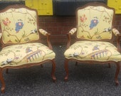 Pair Recently Upholstered 1980s French Louis XV Style Fauteuil Armchairs