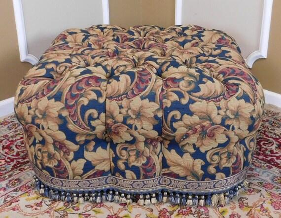 Incredible Great Wesley Hall Tufted Upholstered Living Room Ottoman Pouf 1990S Inzonedesignstudio Interior Chair Design Inzonedesignstudiocom