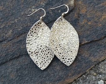 Leather Earrings, Gold Leather, Pebbled Leather, Petal Earrings, Stingray Leather, Metallic Leather, Lightweight, Boho Chic