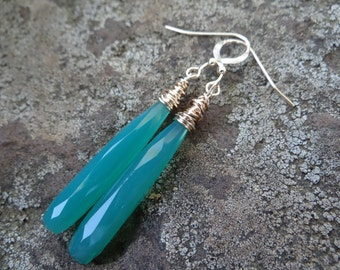 Green Chalcedony Wire Wrapped Earrings