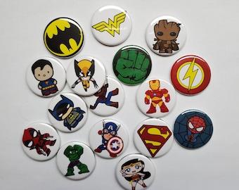 "Superhero , 125"" Buttons (set of 15)"