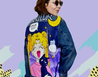 7c9787e38e Sailor Moon hand painted denim jacket