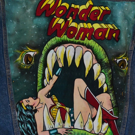 handpainted comics Woman Wonder jacket deni EqznHnvxS