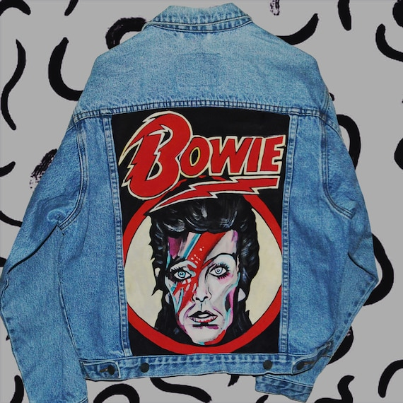 David painted jacket denim hand Bowie pafrp