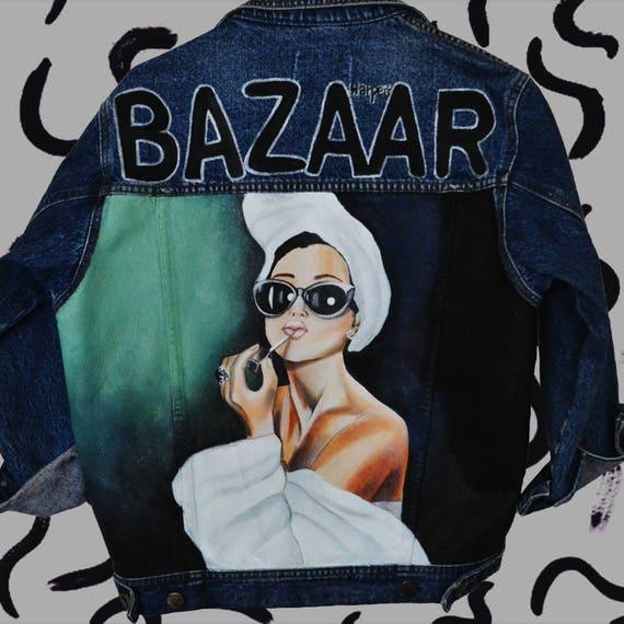 Vintage woman denim magazin Bazaar painted painted clothing hand jacket FUq6Fwx