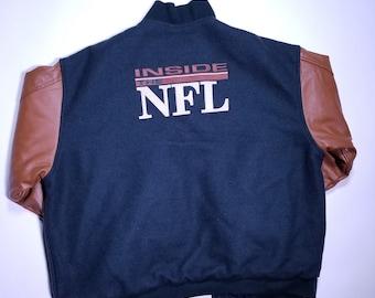 abb005a20 Inside the NFL HBO Sports Vintage Leather Letter Man Jacket L