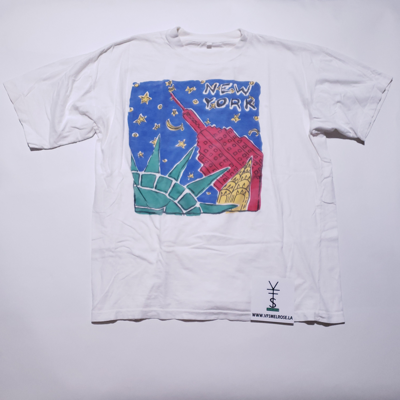 New York New York City Art White étoiles Vintage White Art T Shirt L 72038b