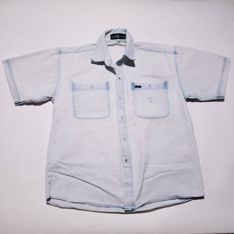 Pocket Shirt Denim Collared Embroidered Two Ralph Lauren Vintage Polo L Up Button lcTFKJ31