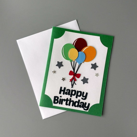 Wondrous Birthday Card With Balloons Friend Birthday Card Happy Etsy Funny Birthday Cards Online Fluifree Goldxyz