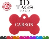 Pet Tags. Dog Tags for Dogs Large Bone ID Tag custom engraved personalized on two sides. Optional Tag Silencer Available.