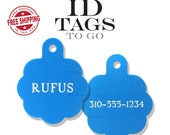 Dog Tag for Dogs Personalized Large Engraved Round Rosette Two Sided Pet Dog ID Tag Personalized Circle