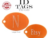 Personalized Engraved Small or Large Oval Two-Sided Pet Dog ID Tag. Texas Orange.
