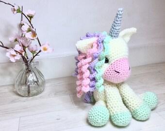 Unicorn Crochet Toy (Cream) - Crochet unicorn - amigurumi - unicorn toy