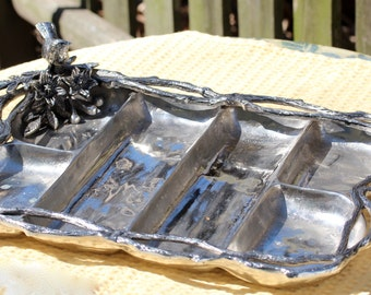Metal Divided Bird and Twig Serving Tray