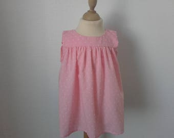The top without sleeves, 6, Pink White satin