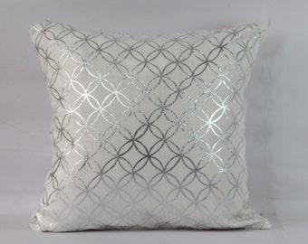 Silver foil metalic pillow cover 20x20 inch silver pillow cover 18x18 pillow cases silver throw pillow covers 16x16 decorative sofa pillows