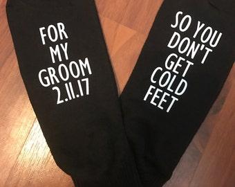 Cold Feet Socks   Funny Wedding Socks  Groom Socks