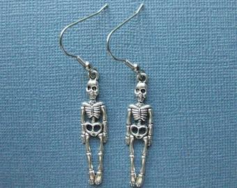 Skeleton Earrings - Dangle Earrings - Halloween Earrings - Halloween Jewelry - Earrings - Skeleton - Holiday Earrings -- E120