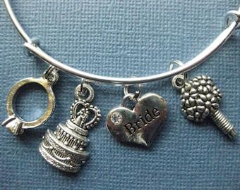 Bride Bangle - Bride Bracelet - Wedding Bangle - Bride Jewelry - Charm Bracelet - Bangle - Bride - Wedding -- B136