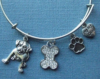 Dog Bangle - Dog Charm Bracelet - Dog Jewelry - Charm Bracelet - Bangle - Dog Lover -- B105