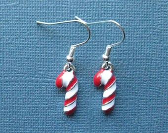 Candy Cane Earrings - Dangle Earrings - Candy Cane - Winter Jewelry - Christmas Jewelry - Holiday Earrings -- E121