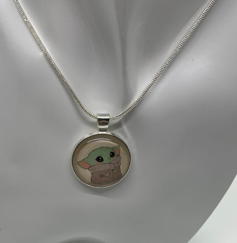 Baby Yoda INSPIRED Necklace Star Wars Valentines Gift image 0