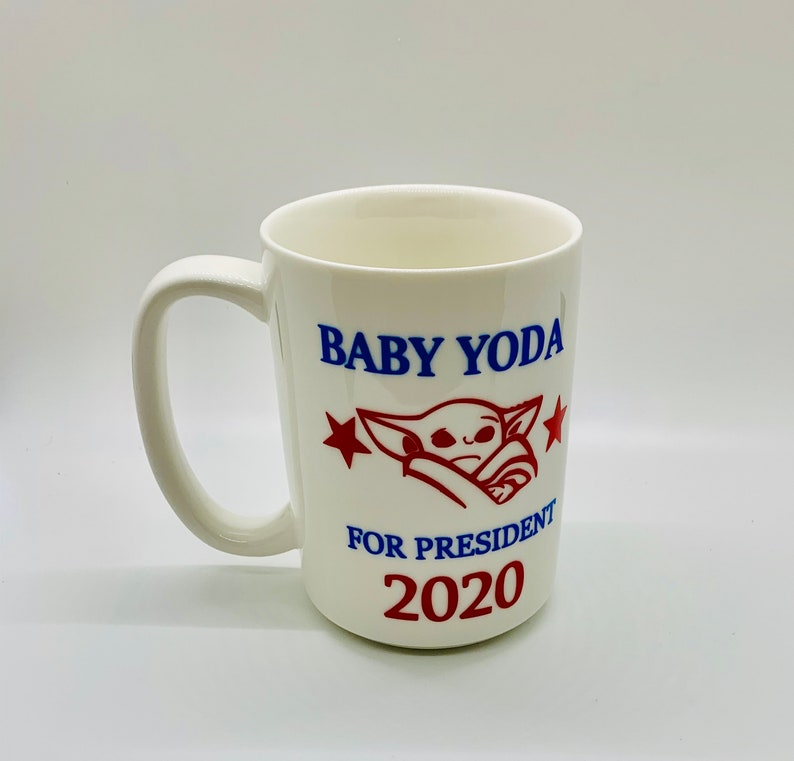 Baby Yoda INSPIRED coffee cup 11oz coffee cup Easter gift. image 0