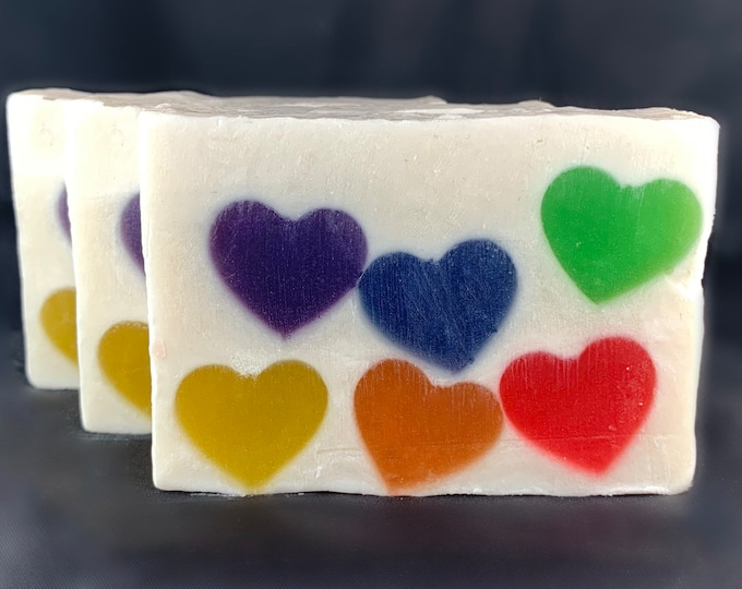 Featured listing image: Rainbow Pride Heart Soap with Shea