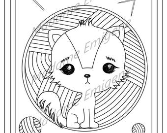 Cat with Yarn Coloring Page- PDF Instant Download