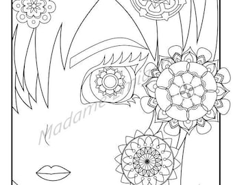 Girl with Flowers Coloring Page- PDF Instant Download