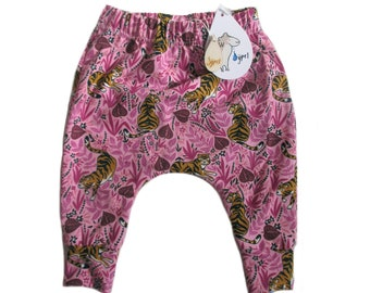 baby harem trousers tigers pink , choose your size