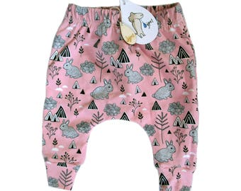 baby harem trousers bunny pink , choose your size