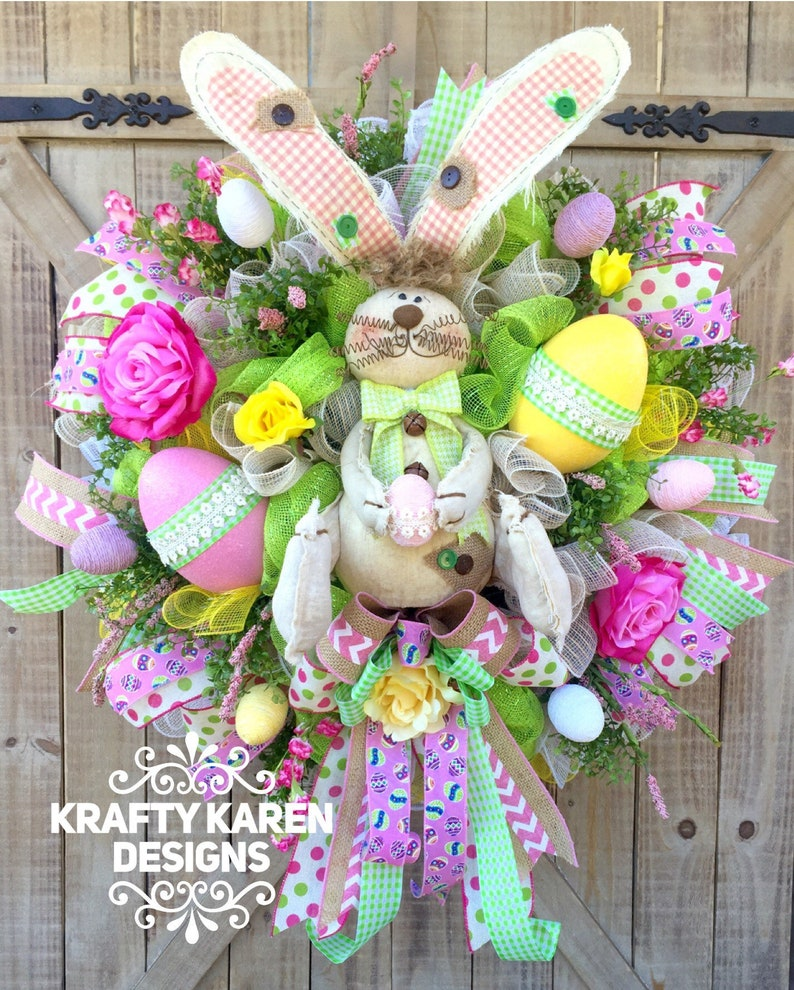 Holiday Wreath Welcome Wreath Easter Wreath Welcome Spring Easter Bunny Bunny Wreath Spring Wreath Extra Large Easter Wreath