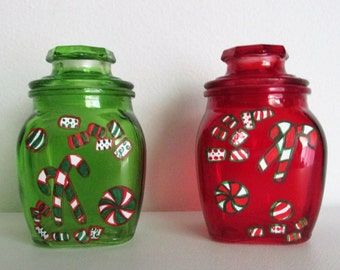 hand painted christmas candy jars featuring red and green candy set of 2