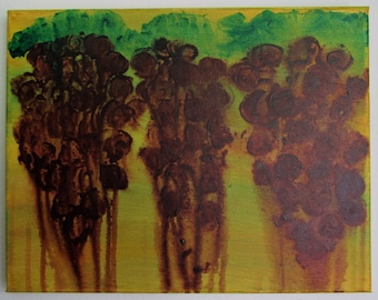 "Vineyard Rain - 14"" x 11"" Acrylic on Stretched Canvas"