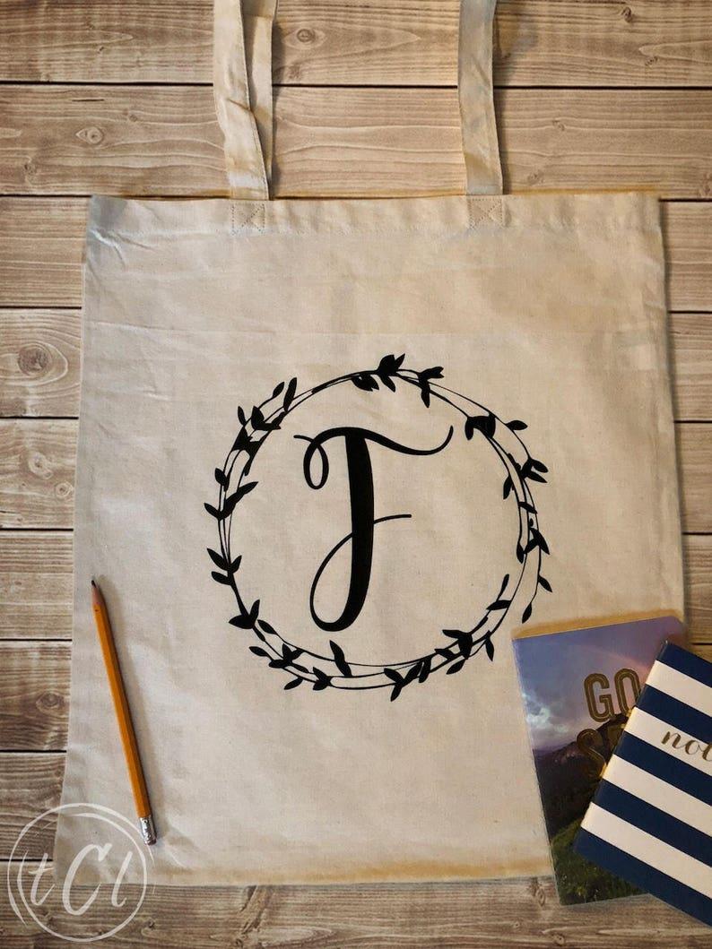 Single Letter /& Vine Canvas Tote Personalized Tote