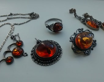 """Lot of vintage jewelry """"amber and Silver 925"""""""
