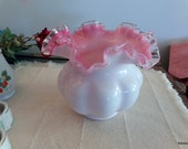 Fenton Cased Pink Silver Crest 5.5 quot rose bowl Crimped ruffled petticoat art glass Beautiful milk glass over pink melon vase. Crystal edge.