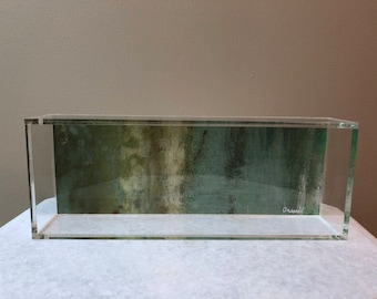Signed lucite tray with design based on original painting by Jennifer Ansardi