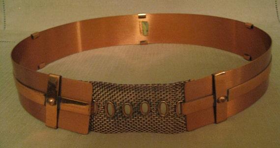 RENOIR COPPER BELT 3 Strips Belt Mesh Closure Vint