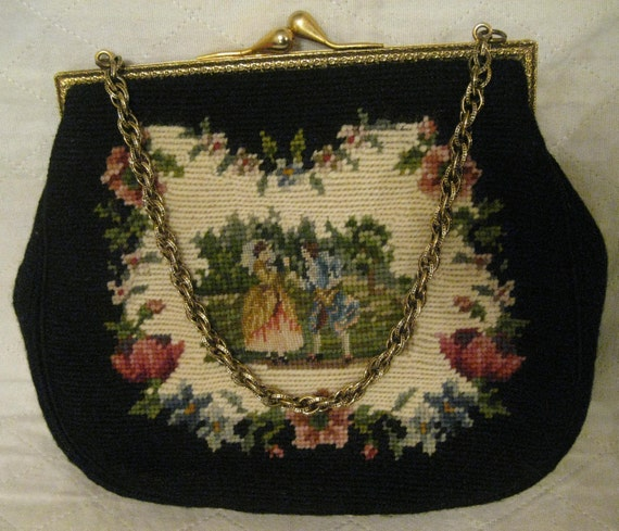 TAPESTRY PETITE STITCH Handbag Wool Silk Fabric Fa