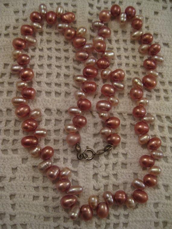 STERLING SILVER PEARL Necklace Vintage Genuine Pea
