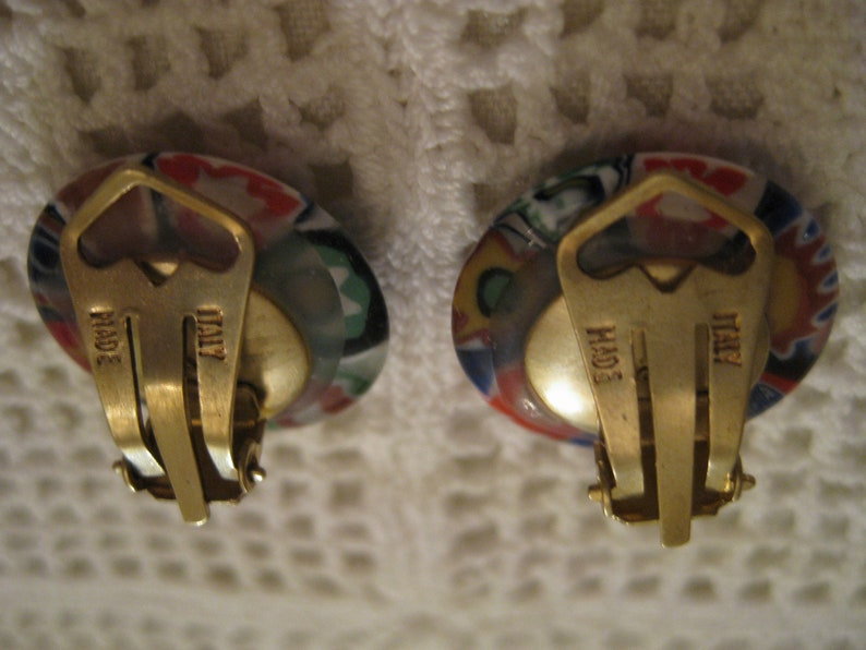 Signed MADE ITALY MILLEFIORI Clip On Earrings Murano Venetian Glass Flower Design Button Style Goldtone Metal Clip On Earrings Vintage 1950s