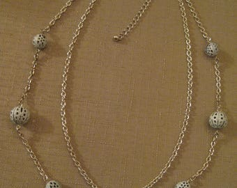 Double Stand Silver Tone Chain Necklace With Open White Enamel Filigree Open Work Beads W Extension Chain Lobster Claw Clasp