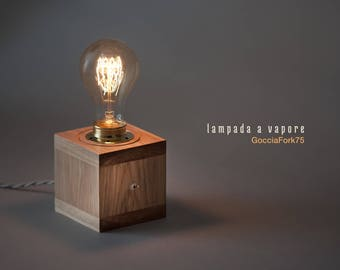 Edison Drip Steam Lamp Fork 75, solid wood cube with hot light source, Edison Tungsten filament bulb 30W