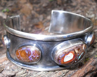 Sterling Silver Boulder Opal Cuff 7 Different Stones 55 TCW
