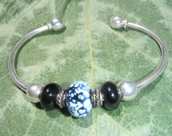 Sterling Silver with Silver and Glass Beads Room To Add Your Own Beads