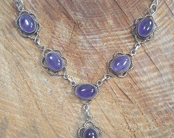Sterling Silver Amethyst Cabochon Necklace