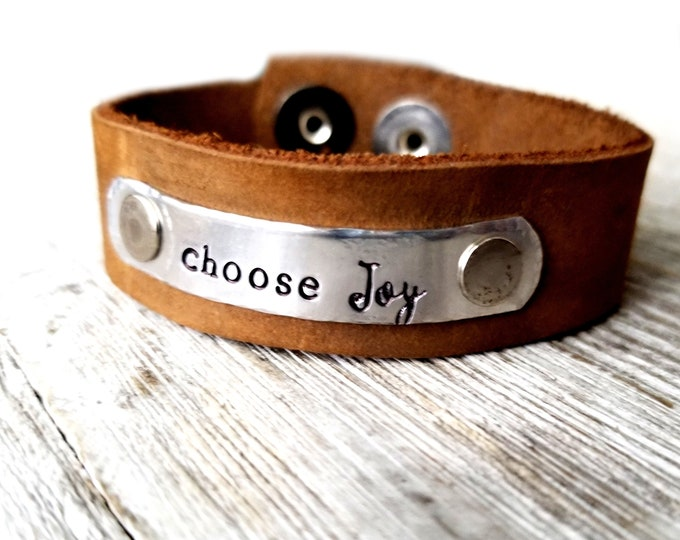 Choose Joy- Leather Cuff- DISCOUNTED
