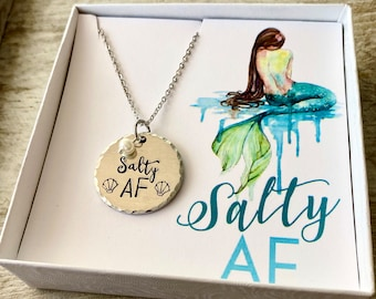 Salty AF- Mermaid Necklace- Gift for Friend- Mermaid Gift - Funny Mermaid Present - Adjustable necklace